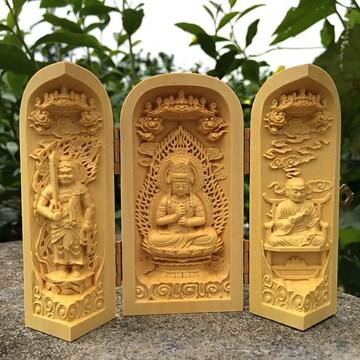 送料無料 柘植木彫仏像 真言宗 三尊像開閉式