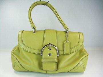 美品コーチレザーハンドバッグ 黄緑系