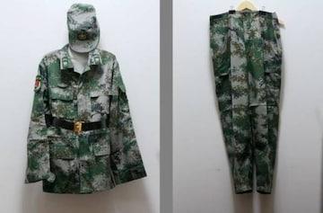 本物 中国人民解放軍07式林地迷彩戦闘服上下 中国軍