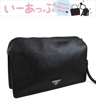 プラダ セカンドバッグ クラッチバッグ 黒 PRADA 美品 VR0051 j408