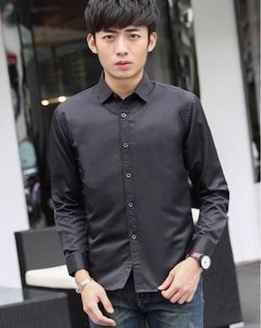 新品 メンズ Yシャツ 光沢 ブラック Lサイズ