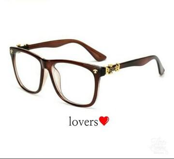 送料無料ブラウン茶クロムゴールドクロス十字架めがねメガネ眼鏡