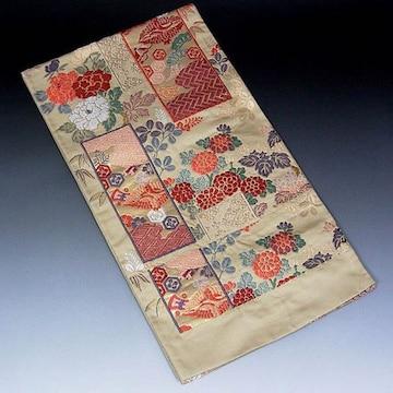 【袋帯】西陣織 ベージュ地 刺繍花柄 未使用品