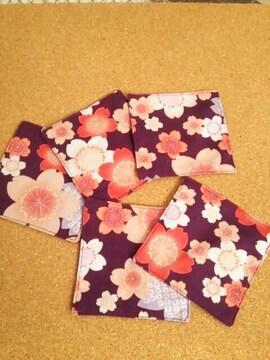 ハンドメイド 和柄コースター(桜 紫) 5枚セット