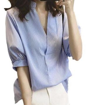 Vネック★背中 ボタン半袖ストライプ★ブラウス(XL寸.ブルー)