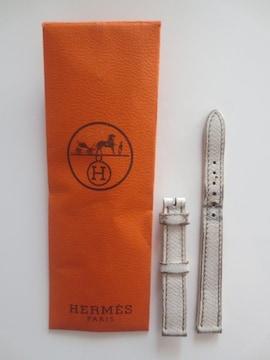 難あり即決/HERMES/レザー/腕時計ベルト/ホワイト