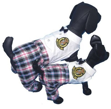 J01)Mサイズ!リボン付制服つなぎチェックパンツDig犬服ドッグウェアーセレブ