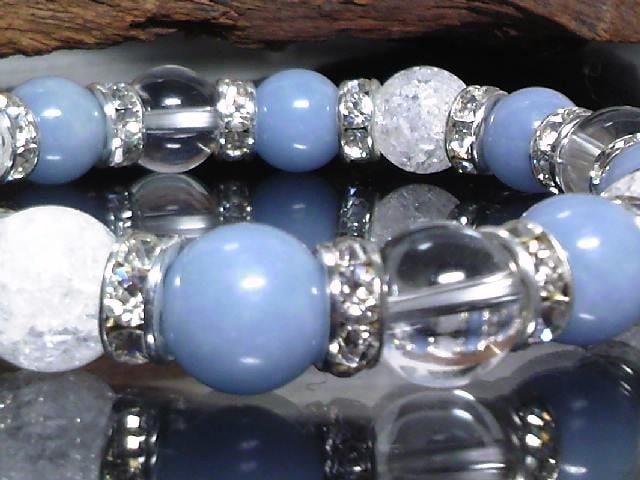 エンジェライト§クラック水晶§水晶10ミリ数珠 < 男性アクセサリー/時計の