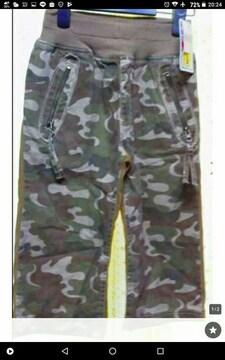 新品☆150cmウェストリブ迷彩パンツ☆chu-chum ブランド
