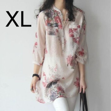 新品☆花柄♪綺麗 ロング丈シャツ ピンク XL