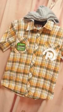 新品PJ'Sチェック半袖シャツ160フード取外し