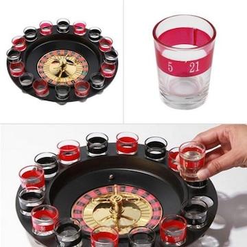 新品 テーブルゲーム ルレットゲームショットグラス 16個セット  バ-、居酒屋
