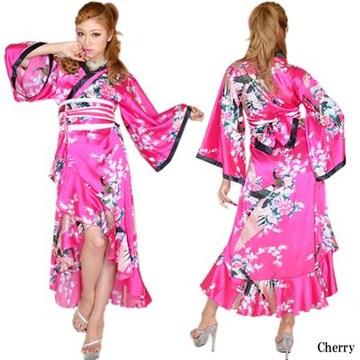 送料無料☆和柄 花柄ロングドレス☆サテン/キャバ衣装/着物