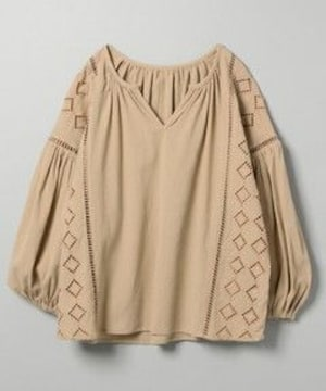 ジーナシス★ふんわり涼しい楊柳の刺繍トップス