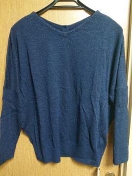 INDIVI昨季新品ネイビーラメドルマンニットセーター大きいサイズ4213号15号