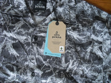 PRANA プラナ ヘンプ オープンカラー シャツ USA-L 新品