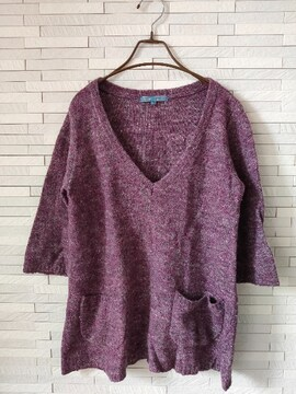 elliene logette/七分袖ウールニットチュニック/大きい3L/紫