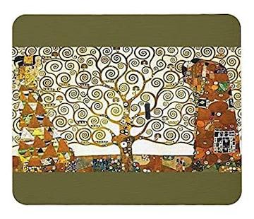 グスタフ・クリムト『 生命の樹 』のマウスパッド (濃緑地)