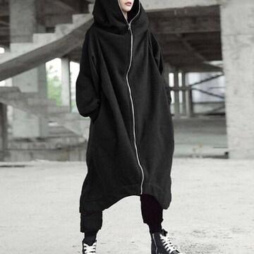 新品[7745]5XL●黒(大きいサイズ)フード付ロングパーカージップコート