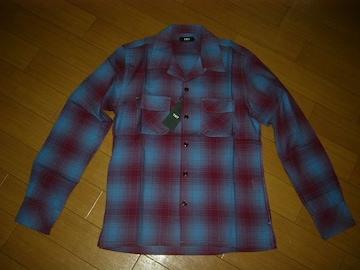 新品TMT薄手チェックシャツS青系開襟定価23000ティーエムティー