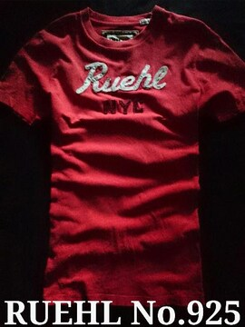 【RUEHL No.925】最高峰 Vintage Destroyed アップリケロゴTシャツ L/Red