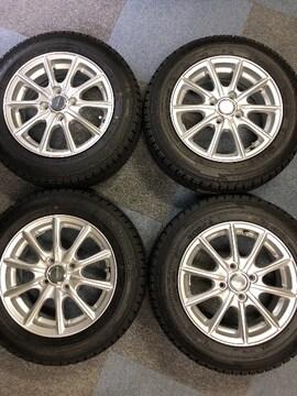 0082889美品アルミホイ-ル国産グッドイヤ-スタッドレスタイヤセット165/70R14送料無料