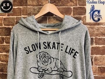 表記M/新品!パイル 犬 ブルドッグ 灰色 パーカー 西海岸サーフスタイル スケーター