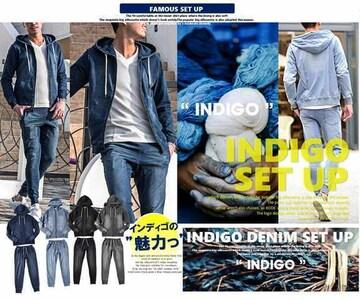 NEW『インディゴの魅力』デニム上下セットアップ4色S-XL