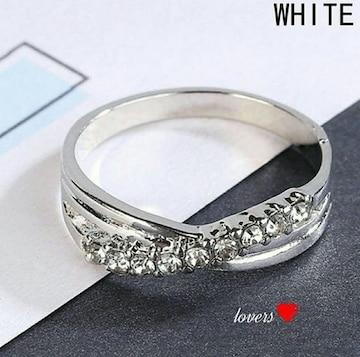 送料無料15号クロムシルバークリアスーパーCZダイヤリング指輪