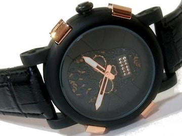 【新品】SKONE【ドクロ×ジルコニア】色気ヤバいメンズ腕時計