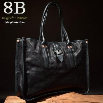 ◆8Bオリジナル 牛本革 スクエア型ビジネストートバッグ◆黒k31