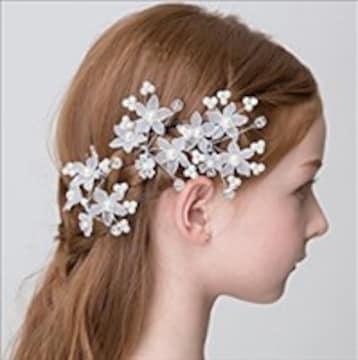 ★3個セット★ 髪飾り 花モチーフ Uピン 子供 フォーマル