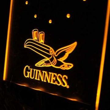 新品【置き時計】Guinness/ギネス ネオン時計 YELLOW