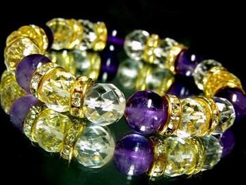 64面カット水晶10ミリ§天然アメジスト10ミリ金ロンデル数珠
