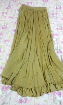 RIBOU後ろ丈長めとろみ素材素敵なロングスカート