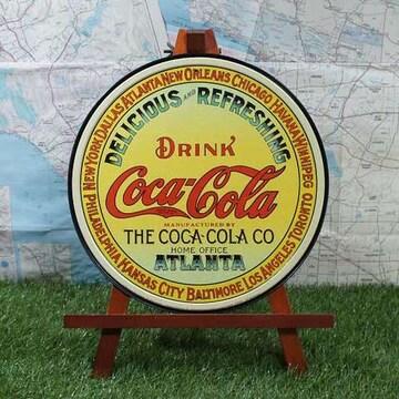 新品【ブリキ看板】Coca-Cola/コカ・コーラ Atlanta 丸型