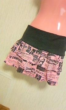新品アメコミ柄二段フリルミニスカートMピンク