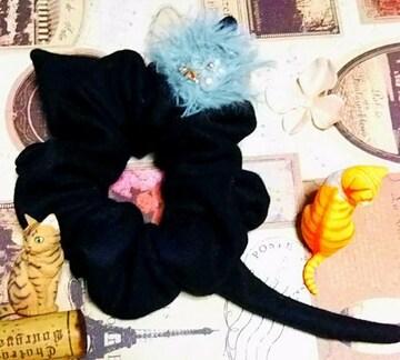 ハンドメイド*・゚ミントファー&星飾★彡黒猫シュシュ/猫耳しっぽ