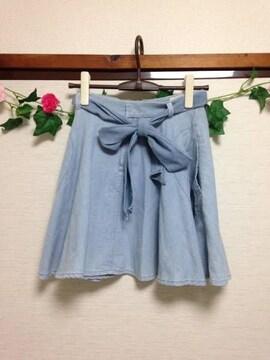 オンワード樫山◆デニム フレア リボン レーヨン混 スカート