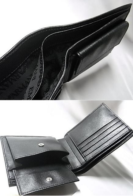 EMPORIO ARMANI YEM122 二つ折り財布 ブラックXシルバー 41040円 新品 < ブランドの