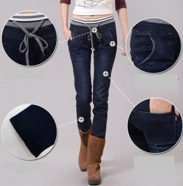 スリムデニムパンツ ウェストゴム ネイビー 4L〜5L < 女性ファッションの