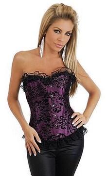 セクシーな唐草模様コルセット 紫