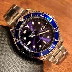 最安値!ロレックス・サブマリーナタイプ◇クォーツ メタル腕時計・紺×シルバー