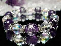 人気!天然石梵字七守護神アメジスト・エンジェルオーラ数珠