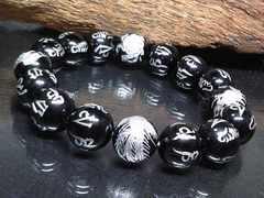 銀四神獣六字真言梵字オニキス12ミリ数珠