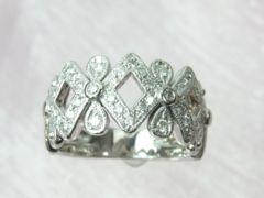 スタージュリー K18WG 0.32ct ダイヤモンド クラシカルなリング 8号★dot