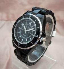 ダイバー風プラベルトウォッチBK-レディース腕時計