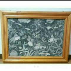 水彩画 自然風景画 魚 海 絵画 インテリア アジアン モノクロ 絵