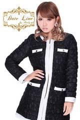 Rady☆バイカラーレース☆ノーカラーダウンコート☆ブラック×ホワイト☆新品タグ付き