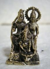 ☆即決☆真鍮製 シバ・ガネーシャ・パールパティー 豆仏像